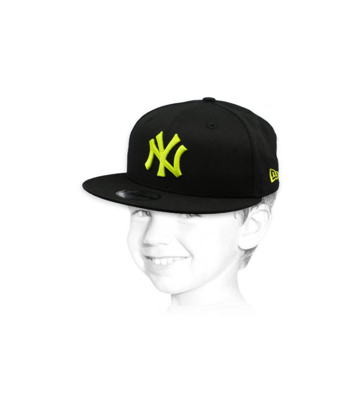 casquette enfant NY noir jaune