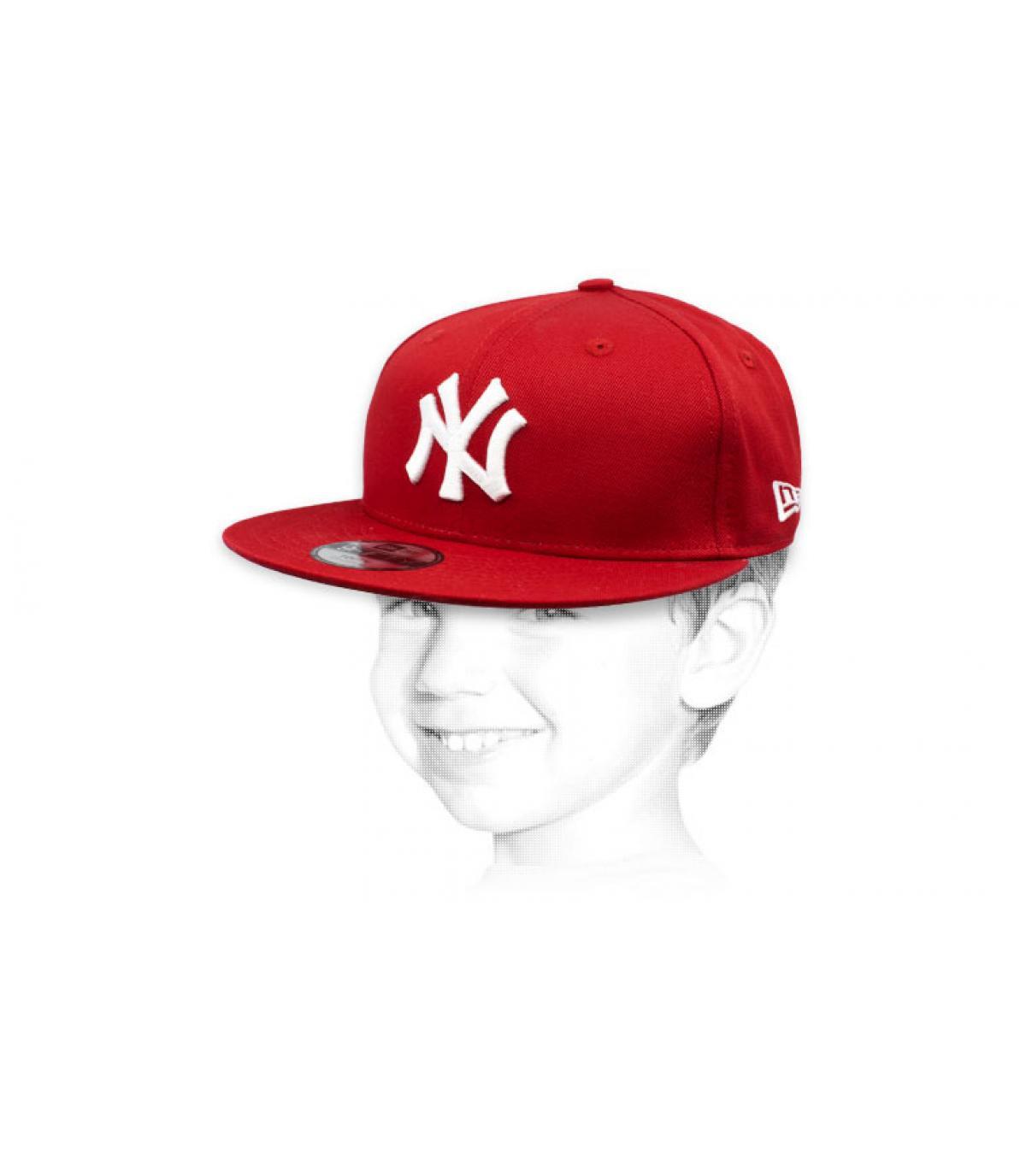 casquette enfant NY rouge blanc