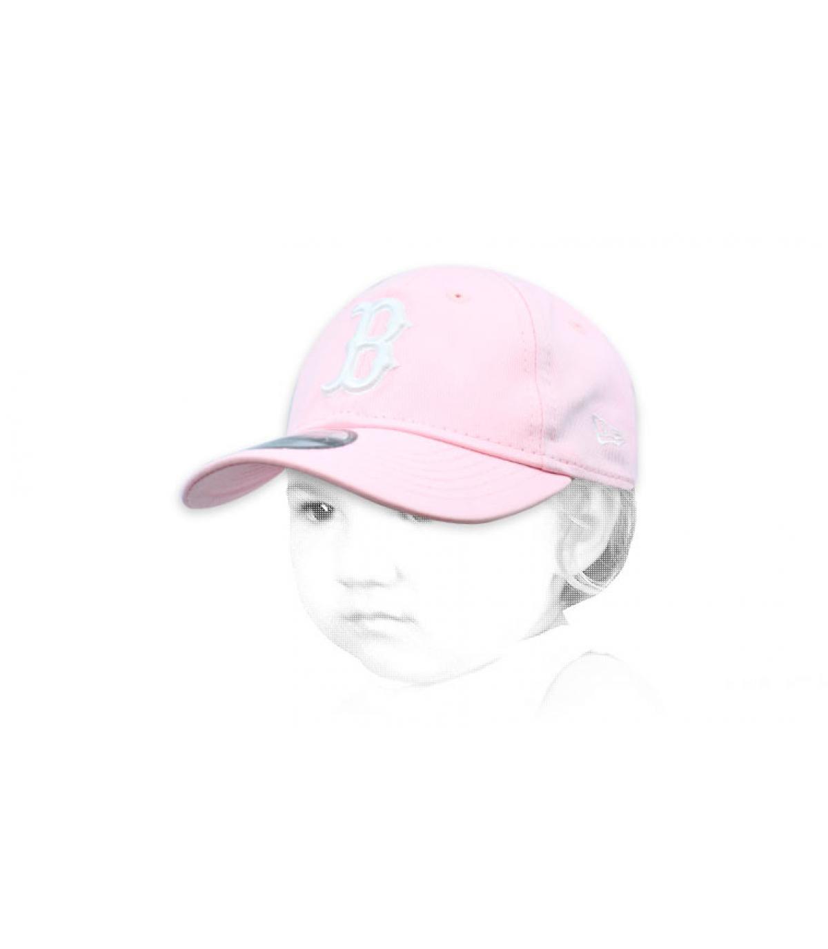 casquette bébé B rose