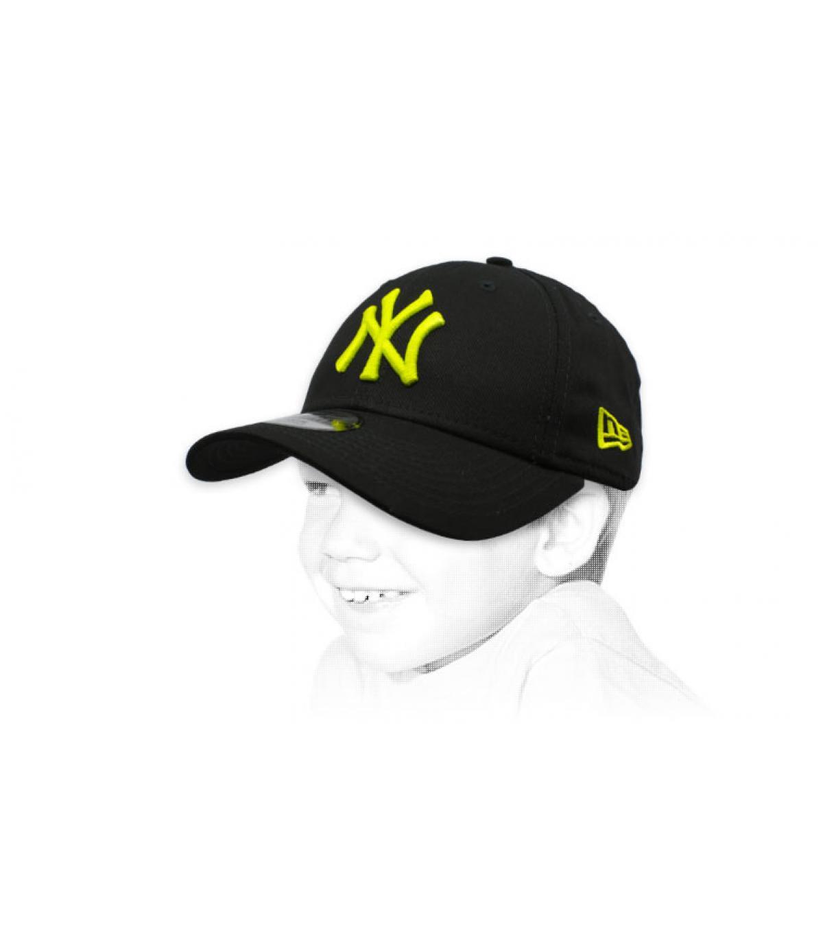 casquette NY enfant noir jaune