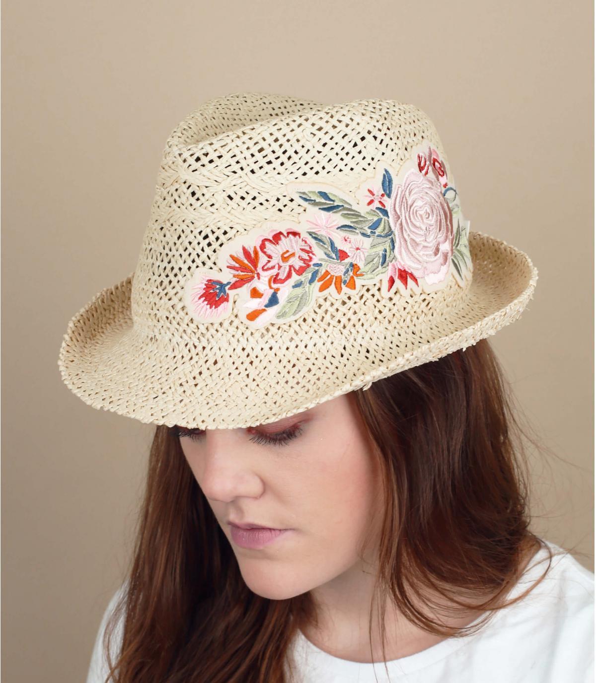 chapeau paille fleurs