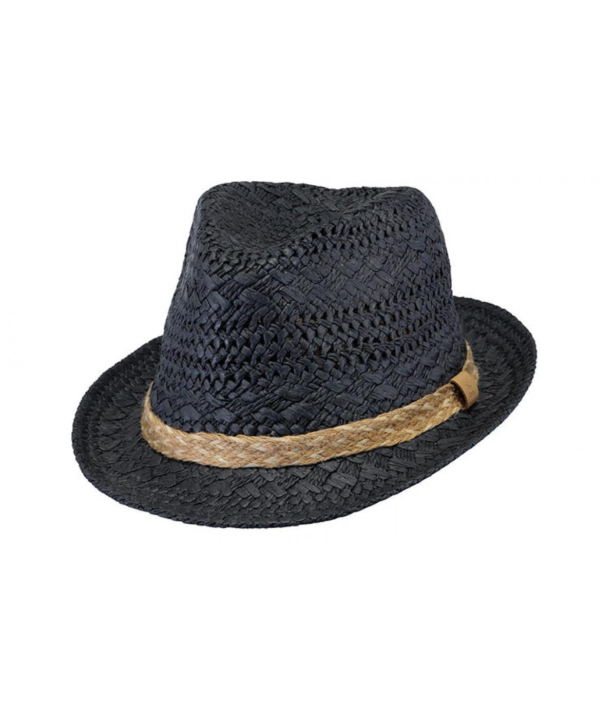 chapeau trilby paille bleu