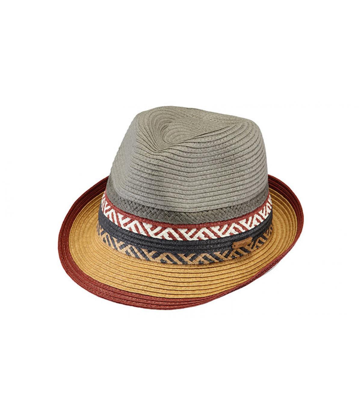 chapeau paille enfant gris bordeaux