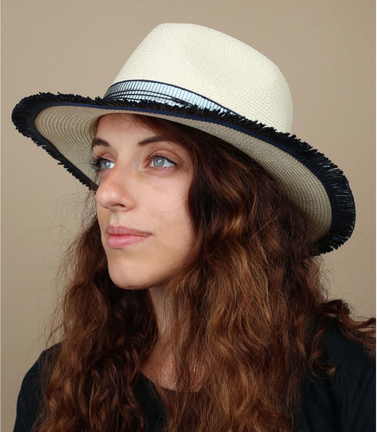 chapeau paille blanc bleu