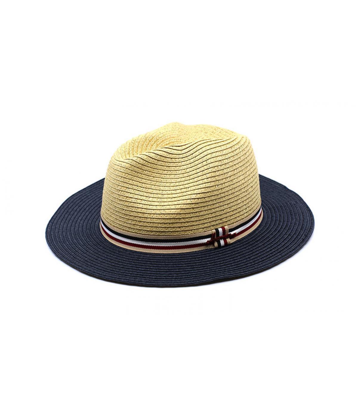 Chapeau beige bleu paille