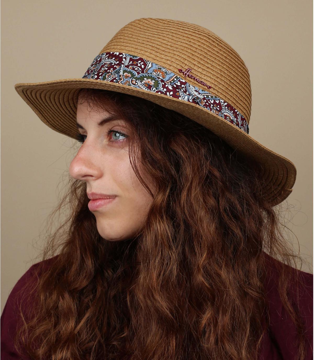 Chapeau paille foulard