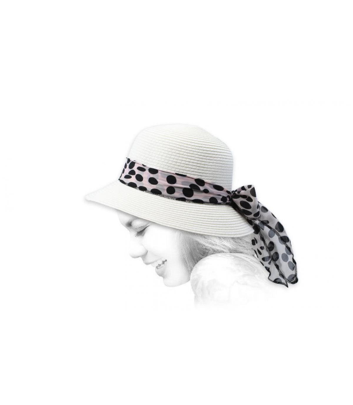 chapeau cloche blanc paille