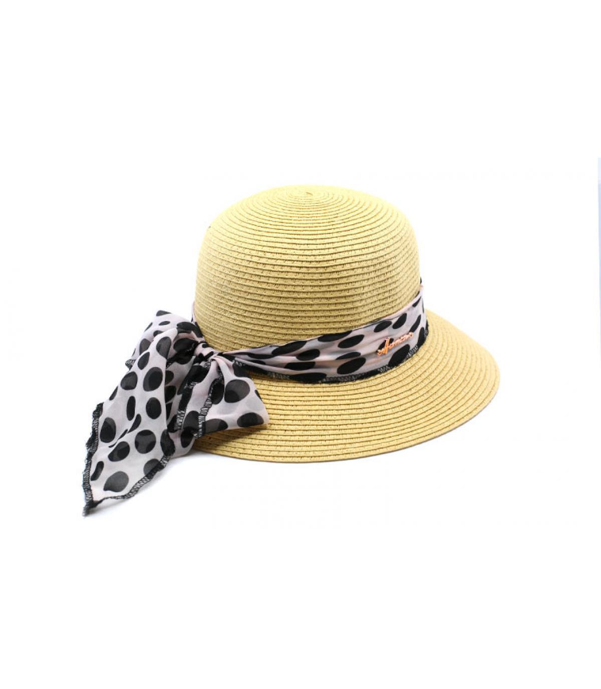 chapeau cloche paille foulard