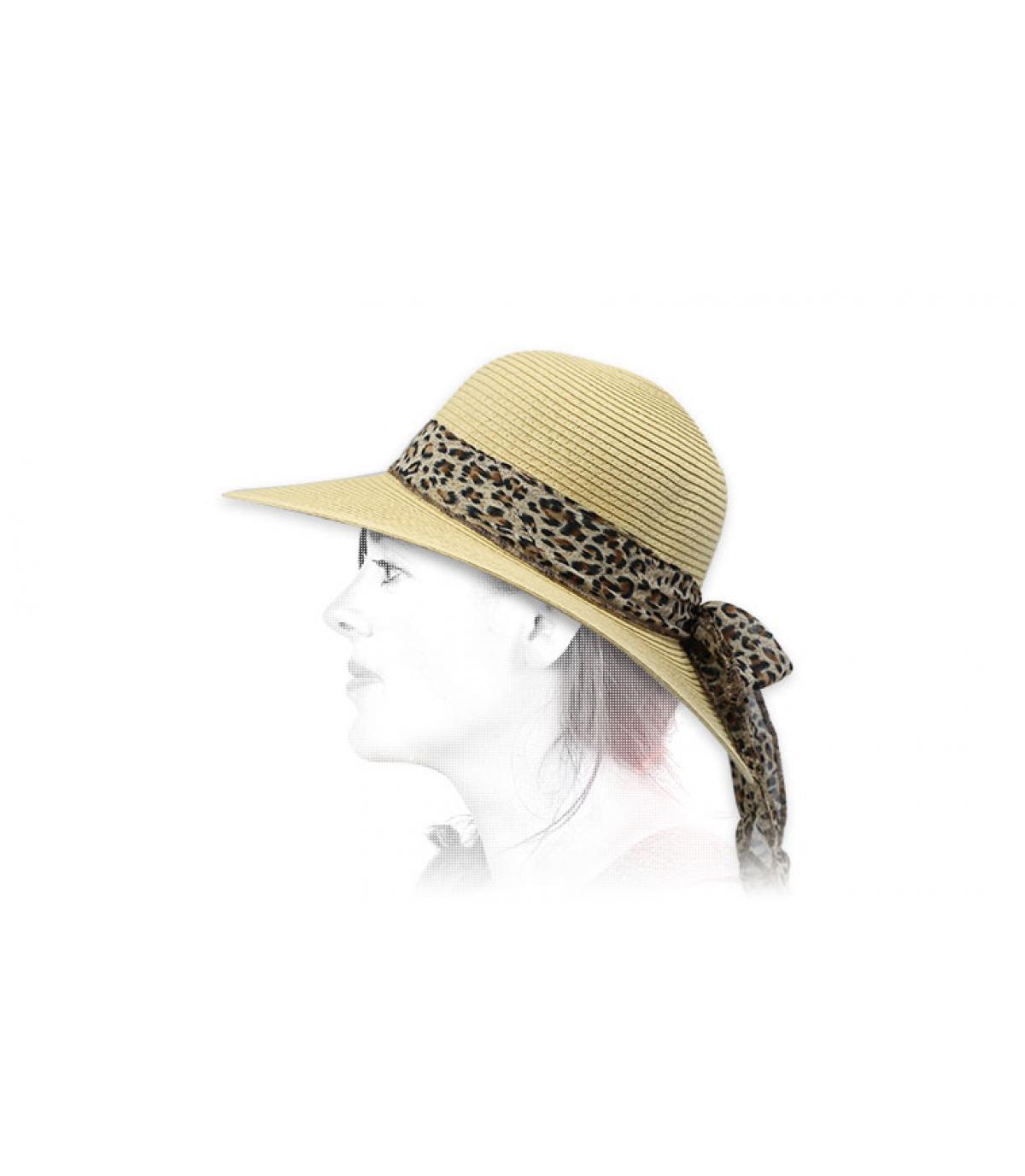 capeline paille foulard léopard