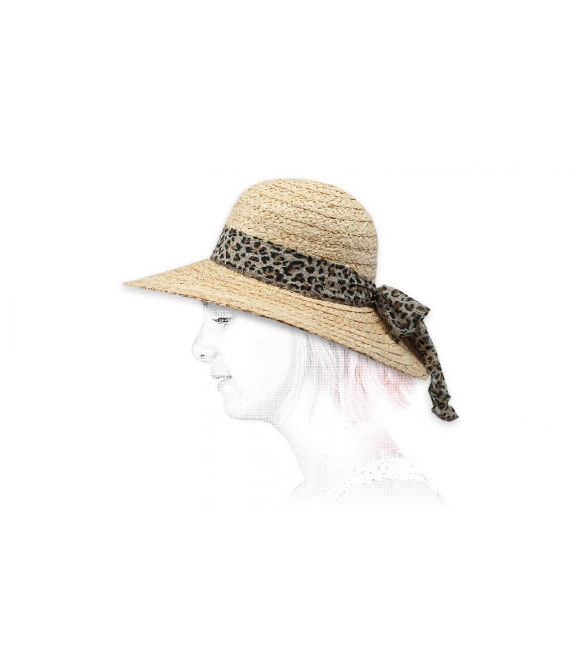 capeline raphia foulard léopard