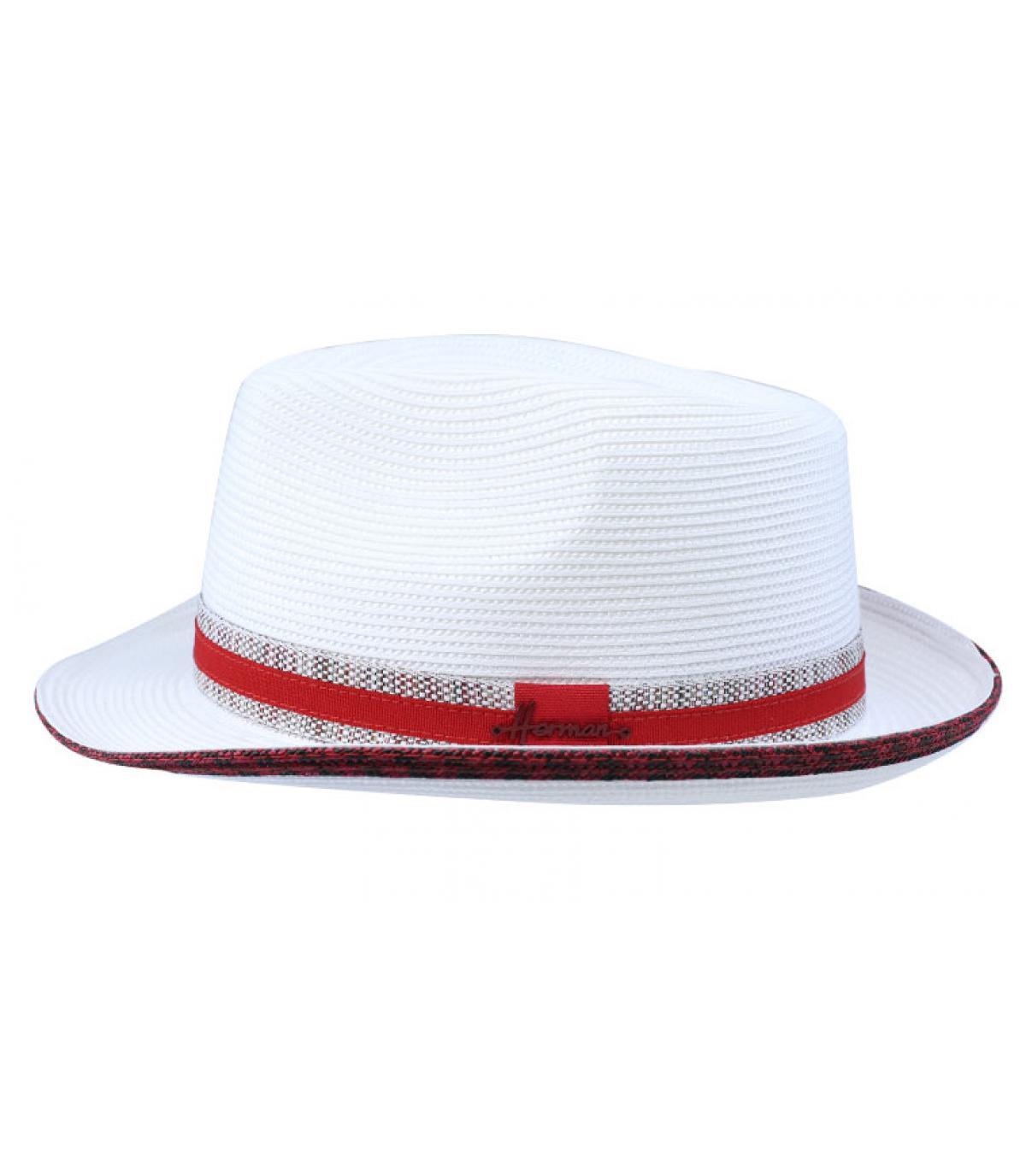 chapeau blanc galon rouge