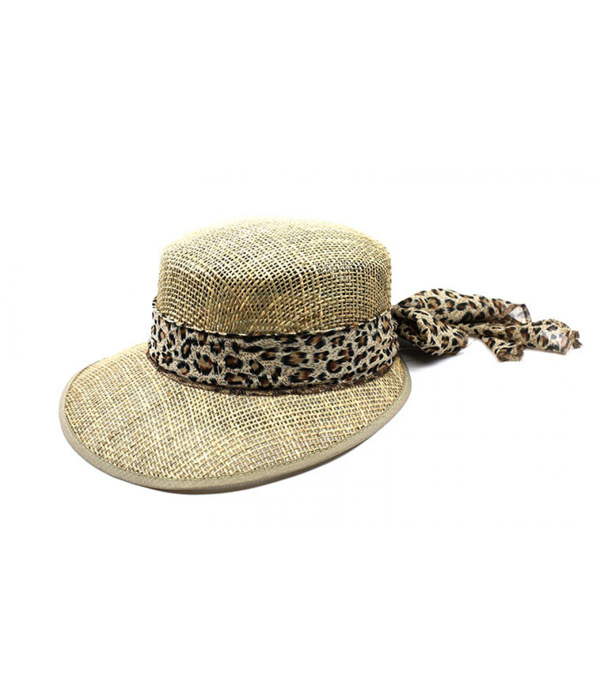 chapeau visière sisal léopard
