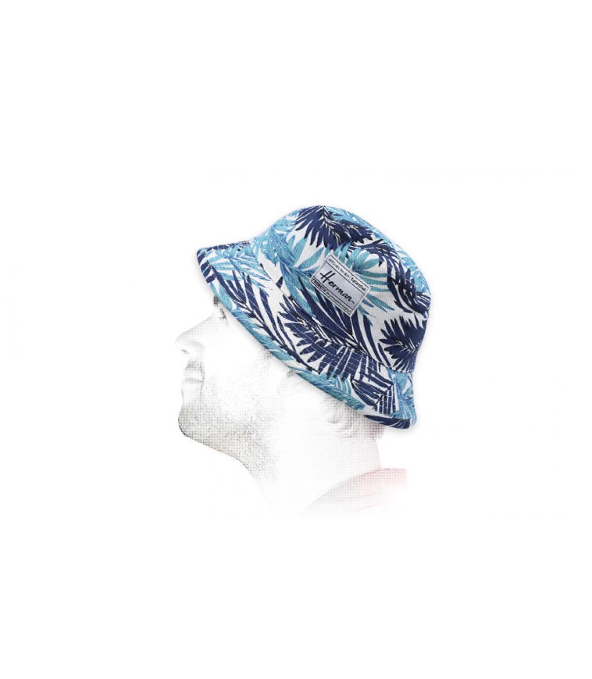 bob imprimé feuilles bleu