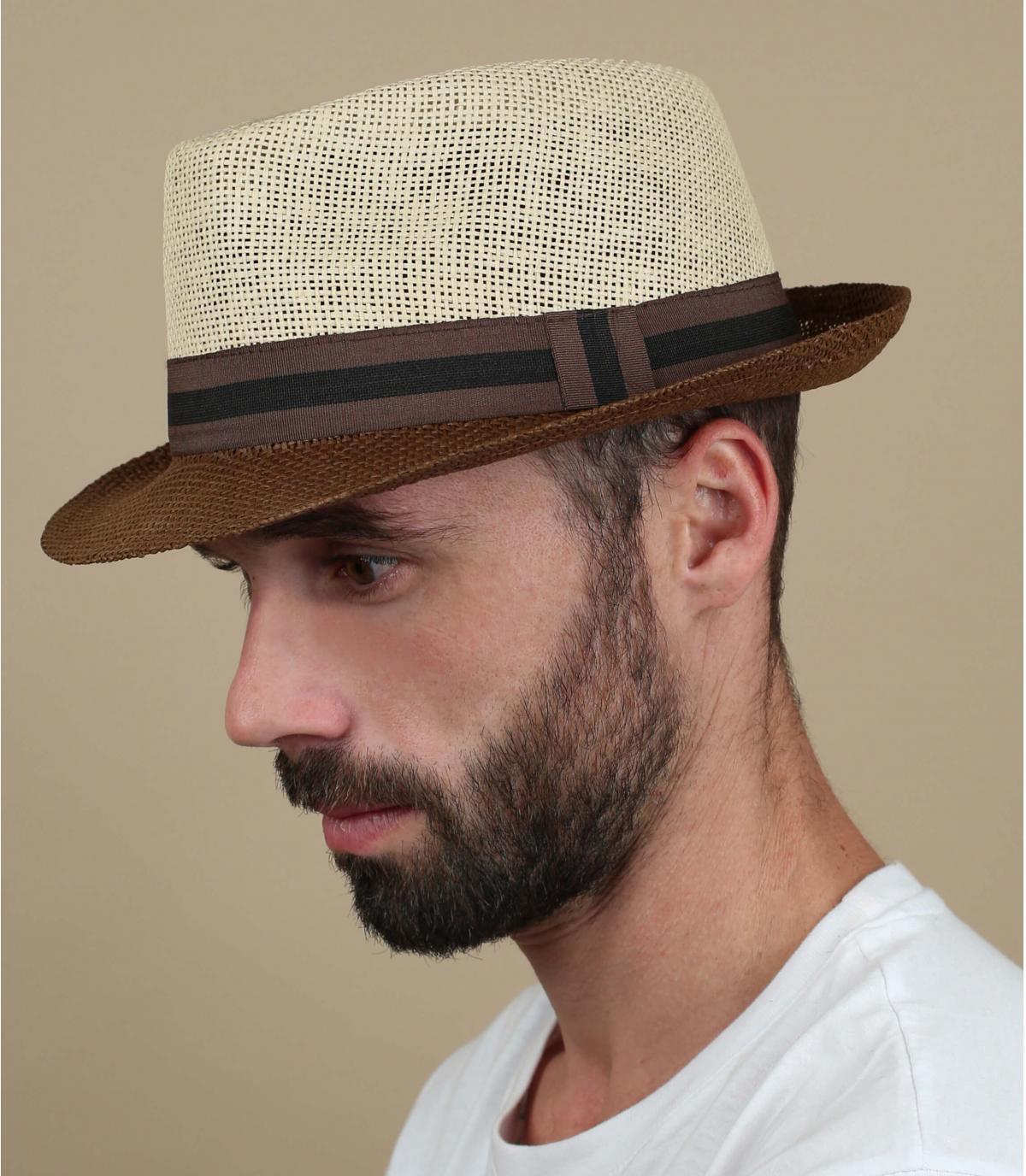 chapeau paille beige marron