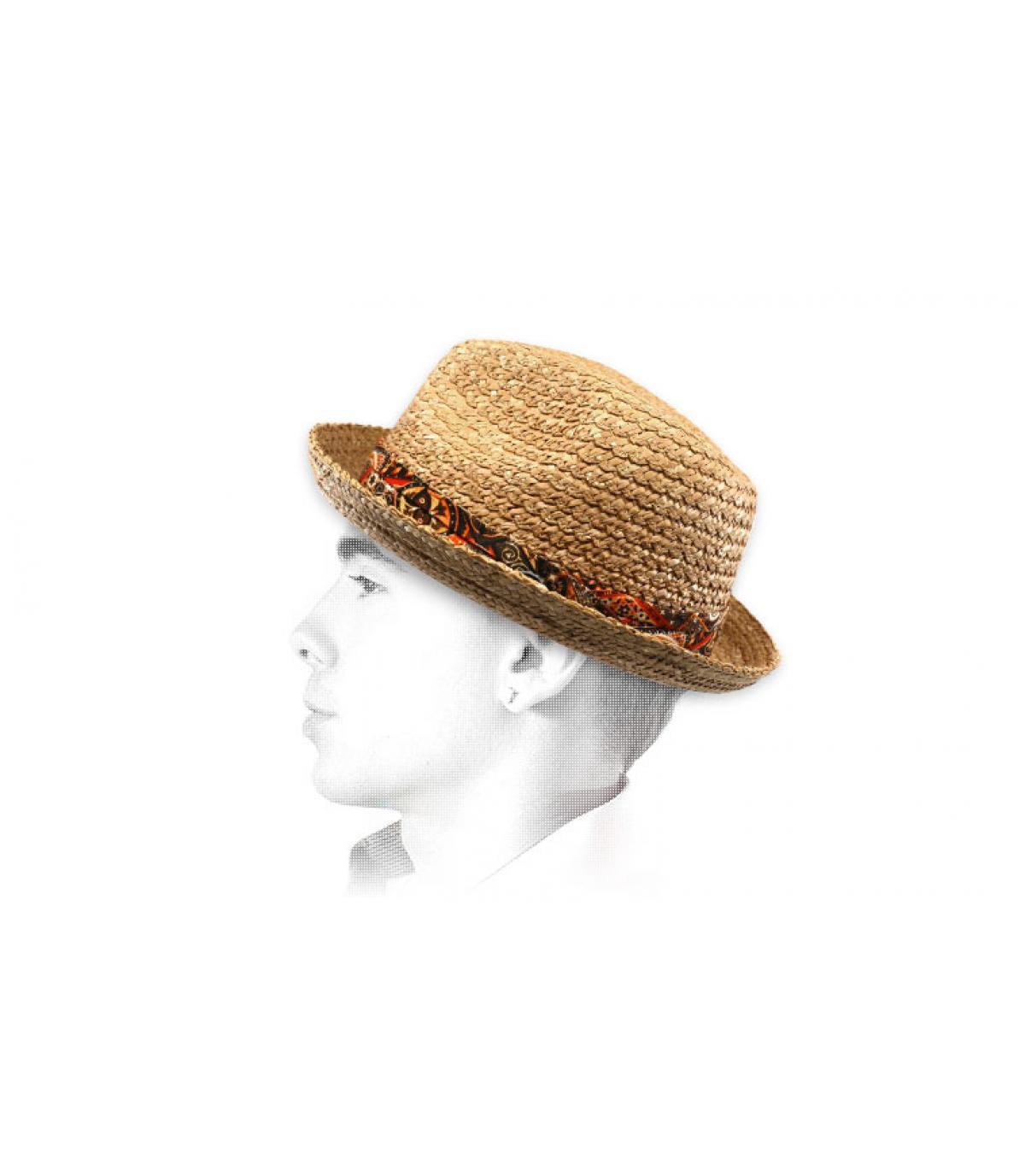 chapeau paille galon tissu Stetson