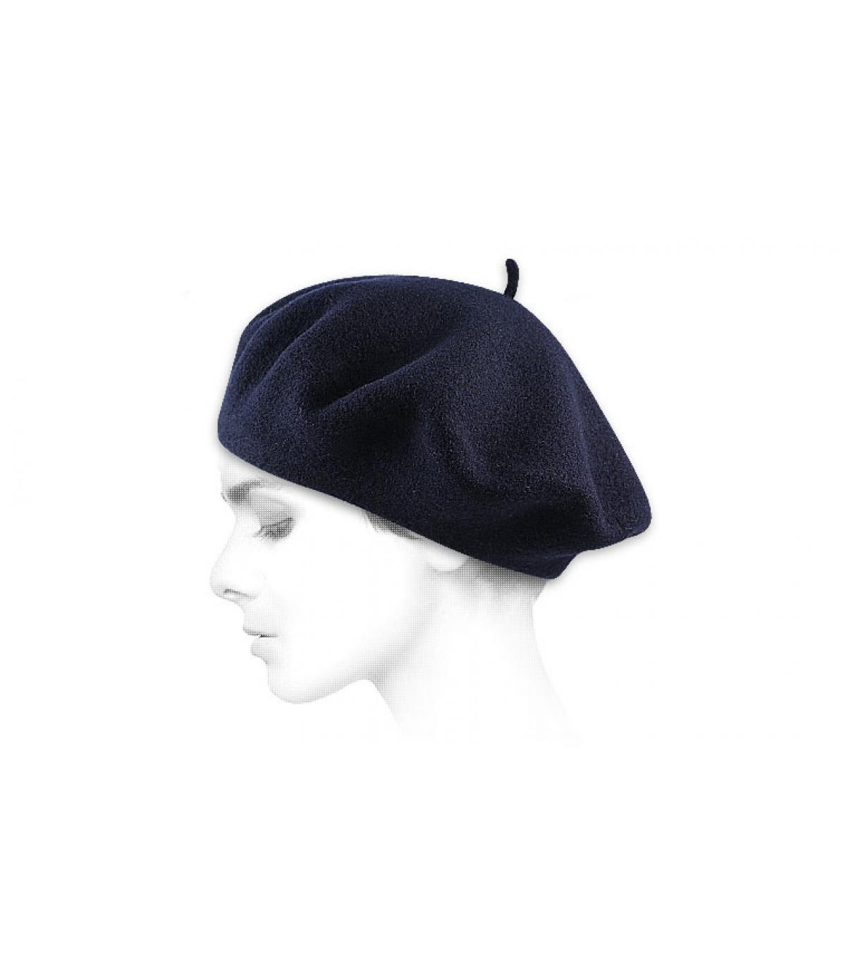 Béret femme bleu marine