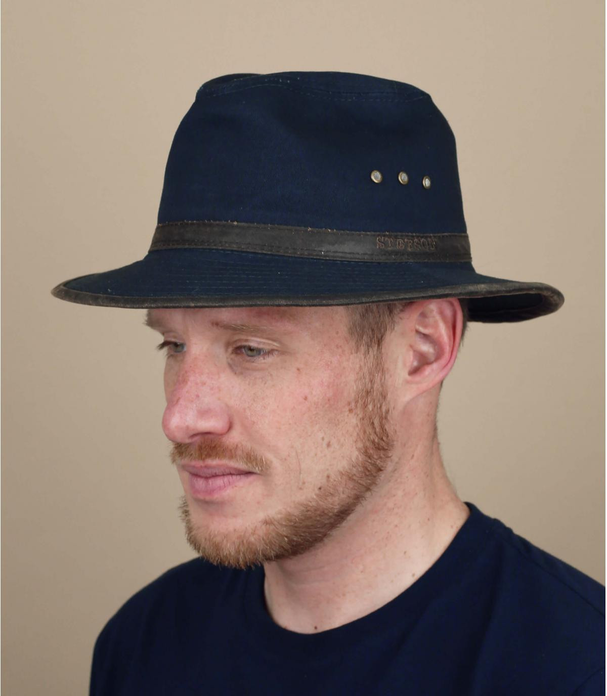 chapeau voyage coton bleu