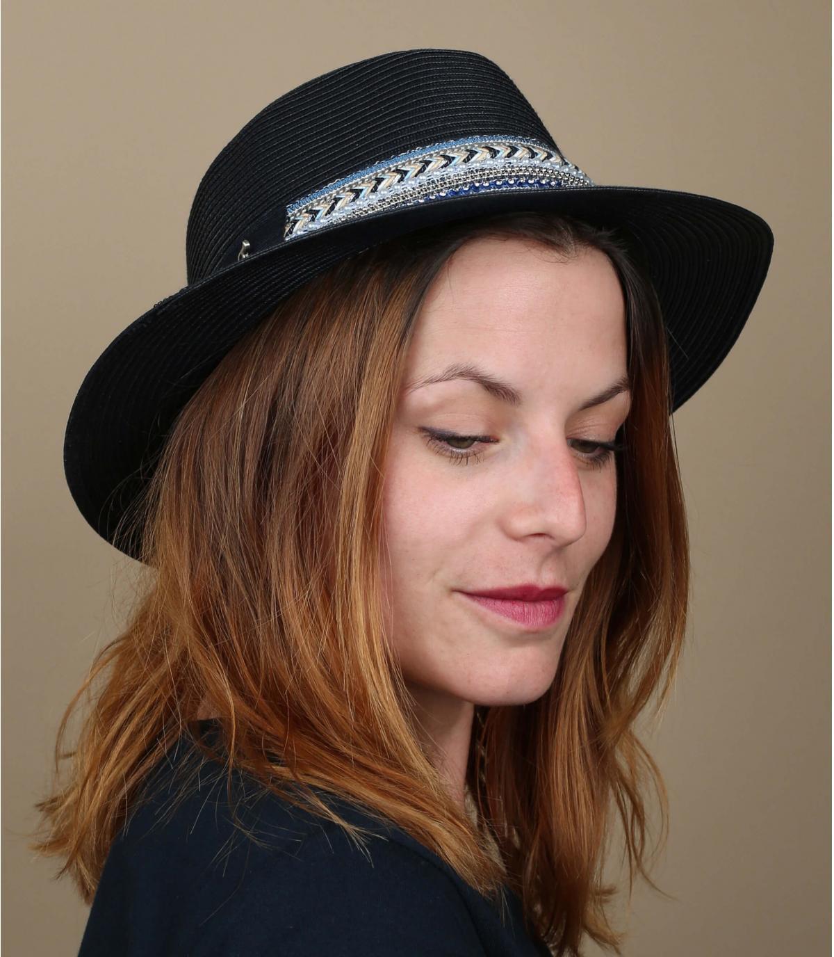 chapeau paille bleu marine
