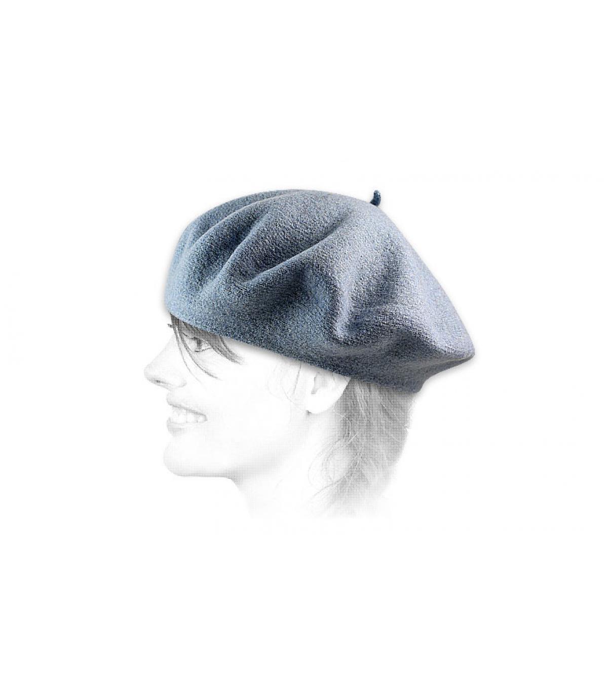 Béret laine femme bleu
