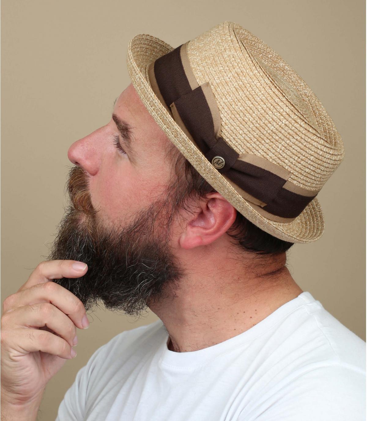 chapeau paille beige galon