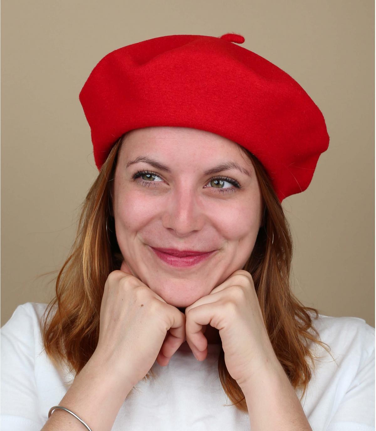 Béret femme rouge