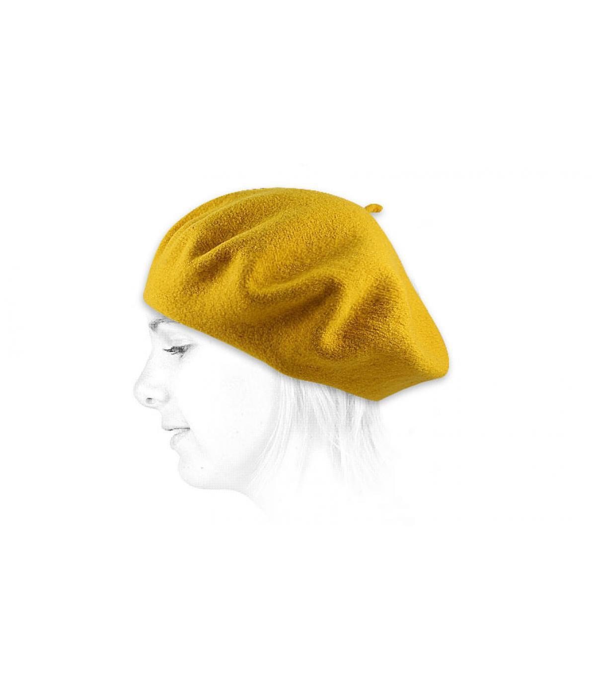 Détails Beret classique moutarde - image 2