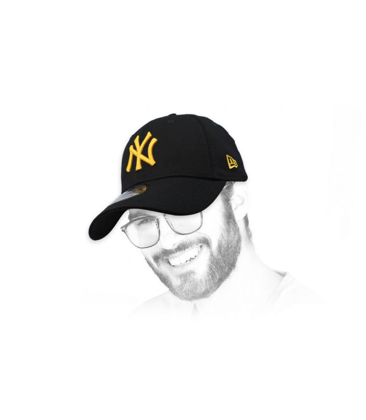 casquette NY noir or