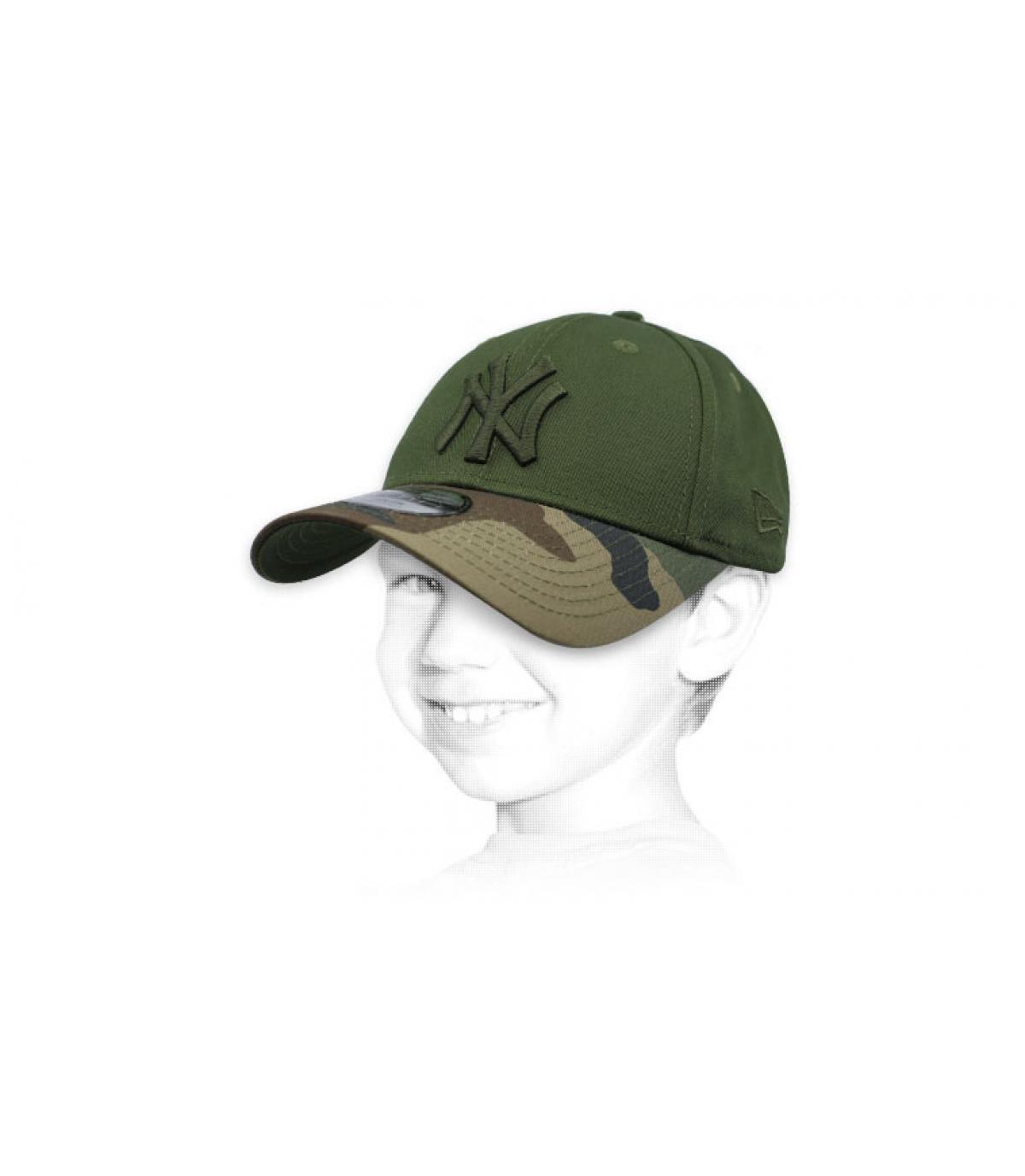 casquette NY enfant vert camo