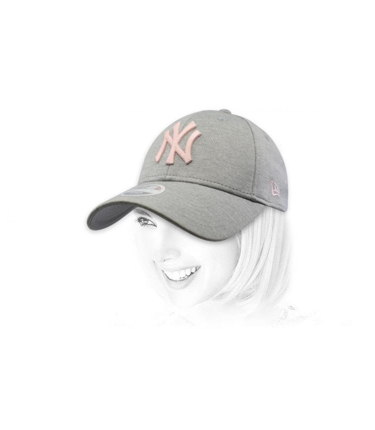 casquette NY gris rose