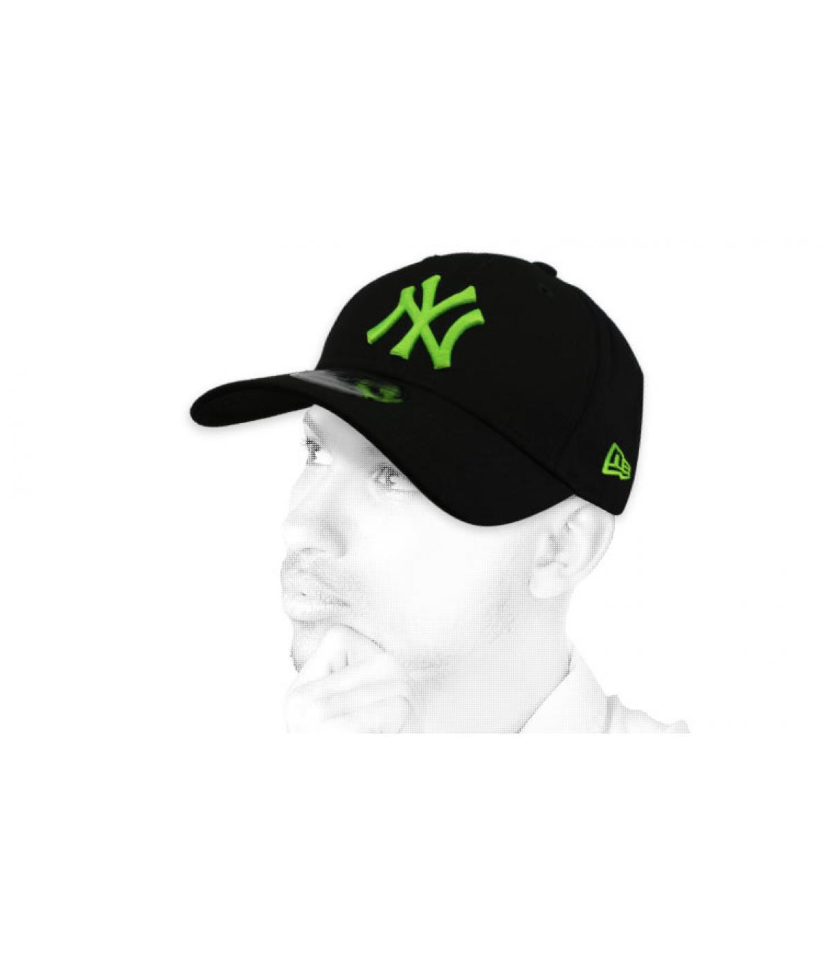 casquette NY noir vert