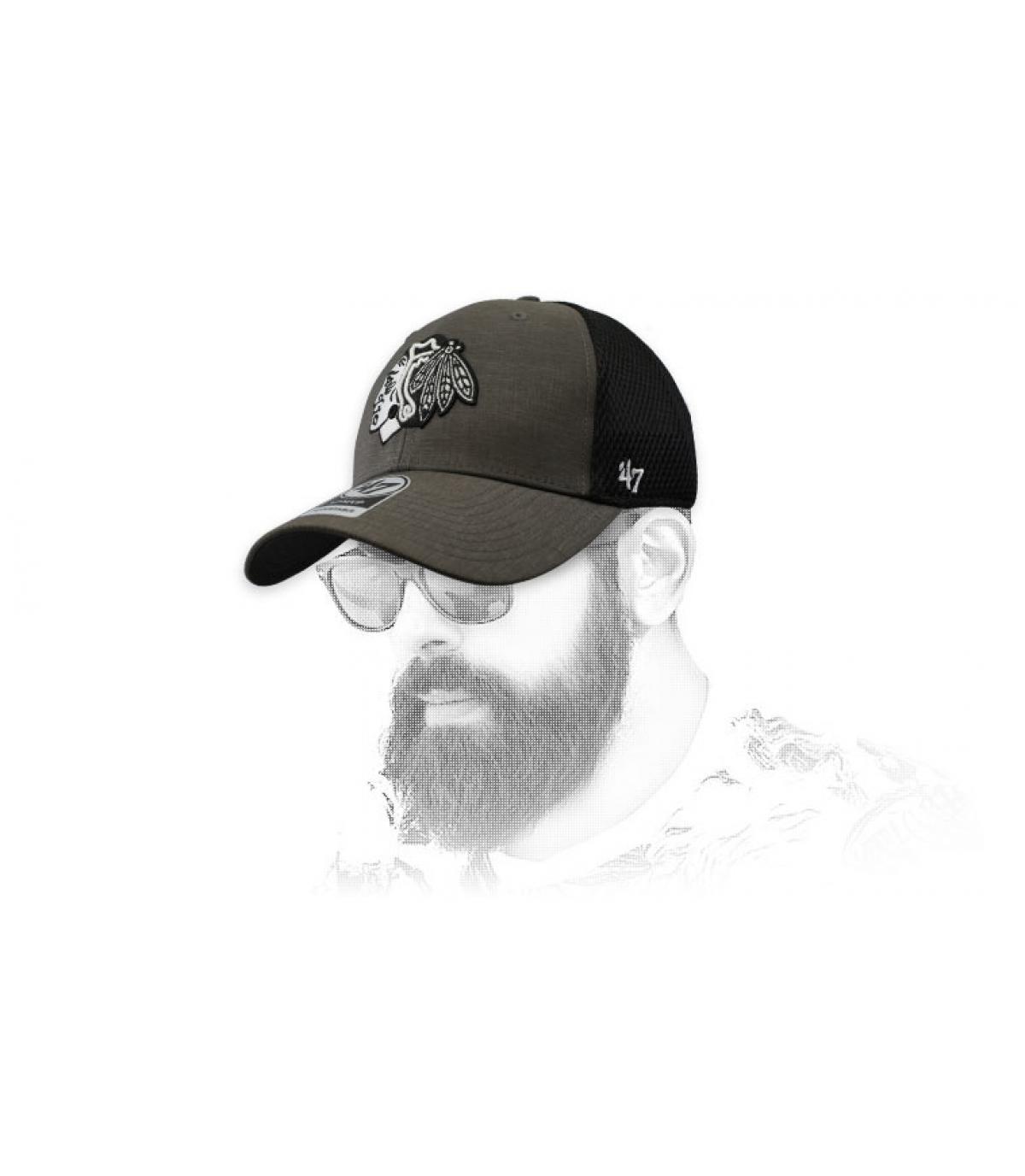 casquette Blackhawks gris noir