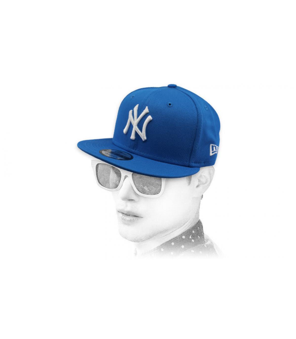 snapback NY bleu blanc