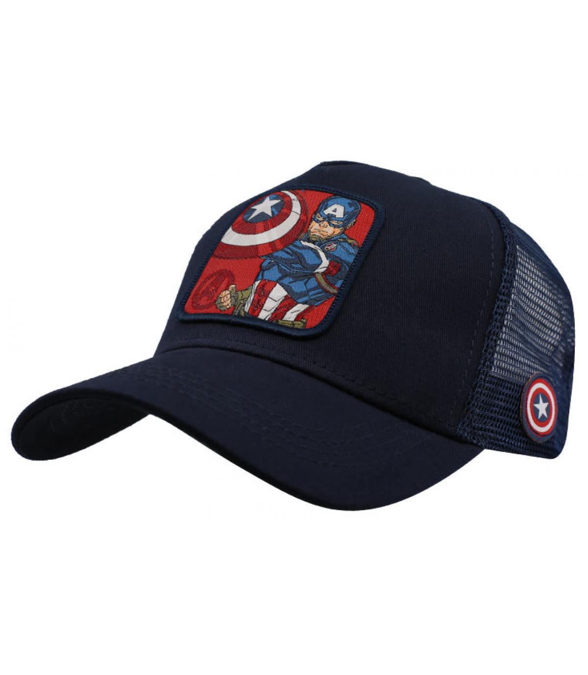 trucker Captain America bleu noir