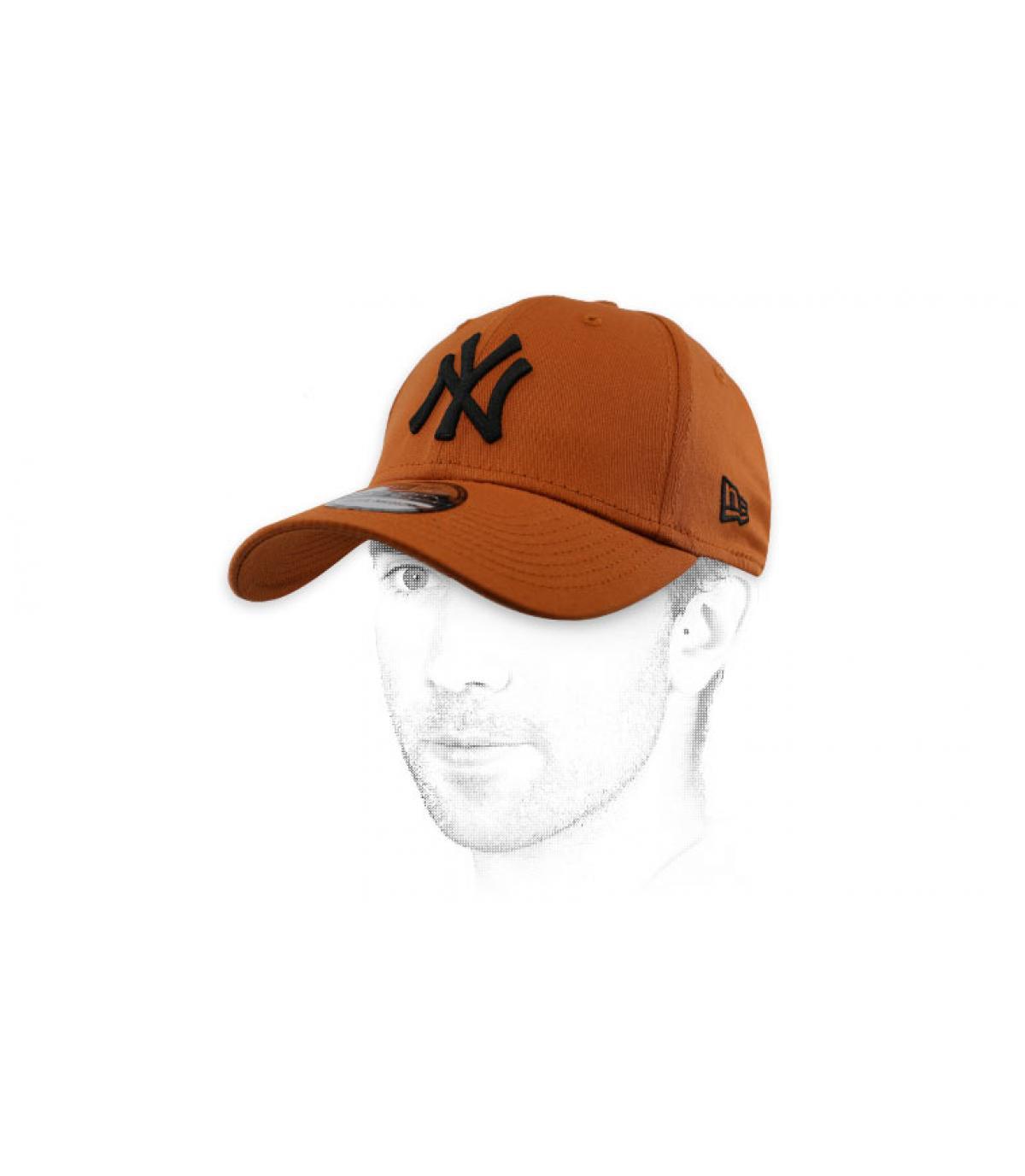 casquette NY marron noir