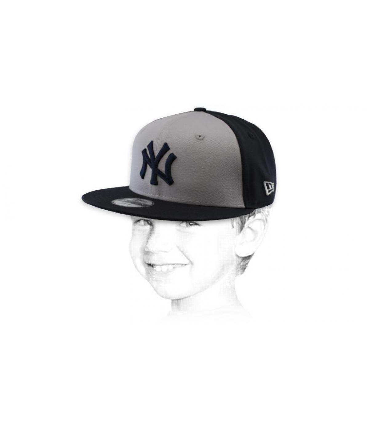 snapback NY enfant gris noir