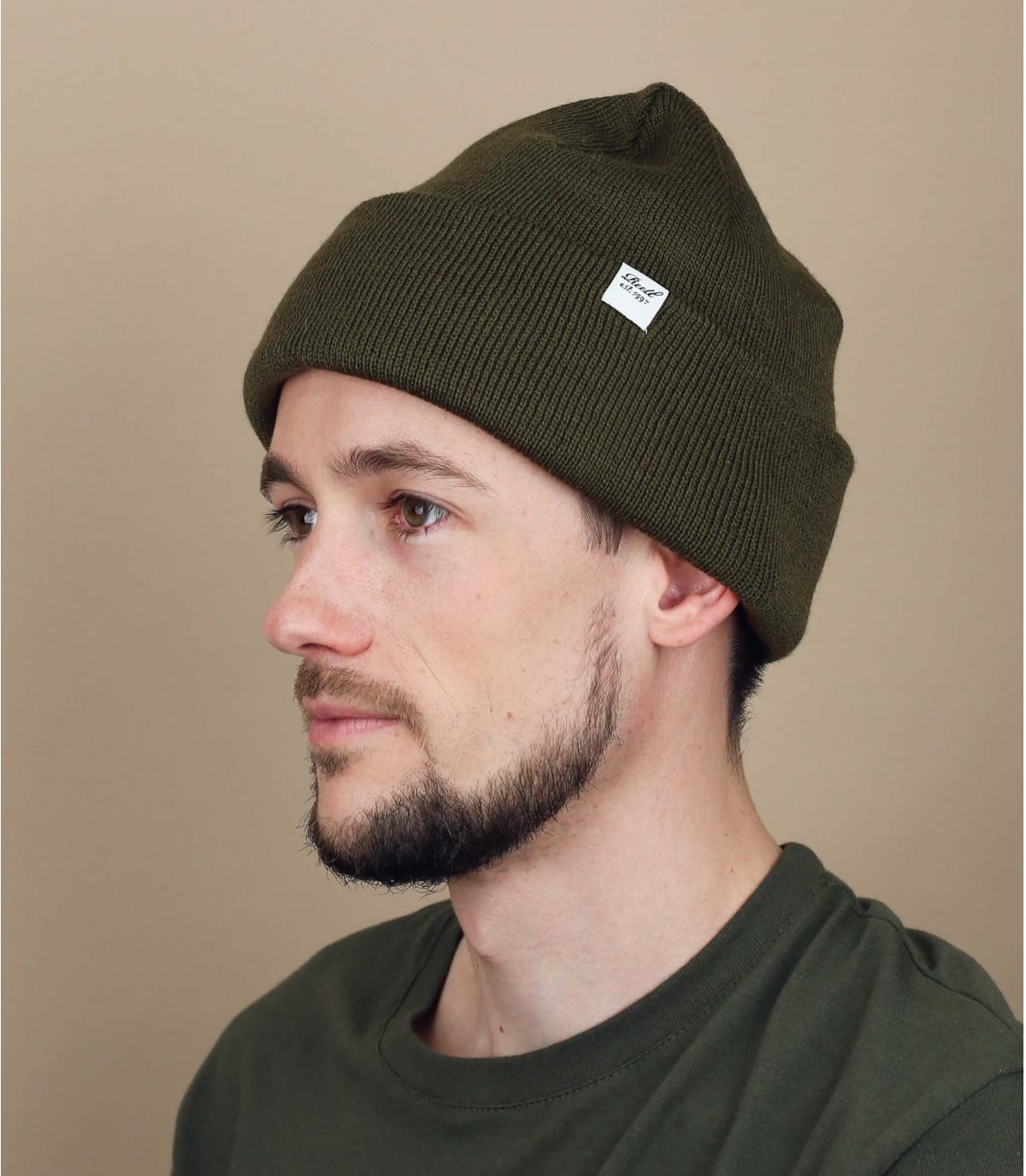 bonnet revers vert olive