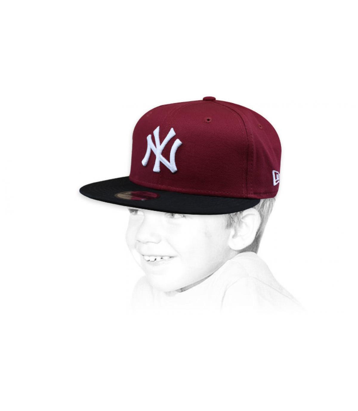 casquette enfant NY bordeaux noir