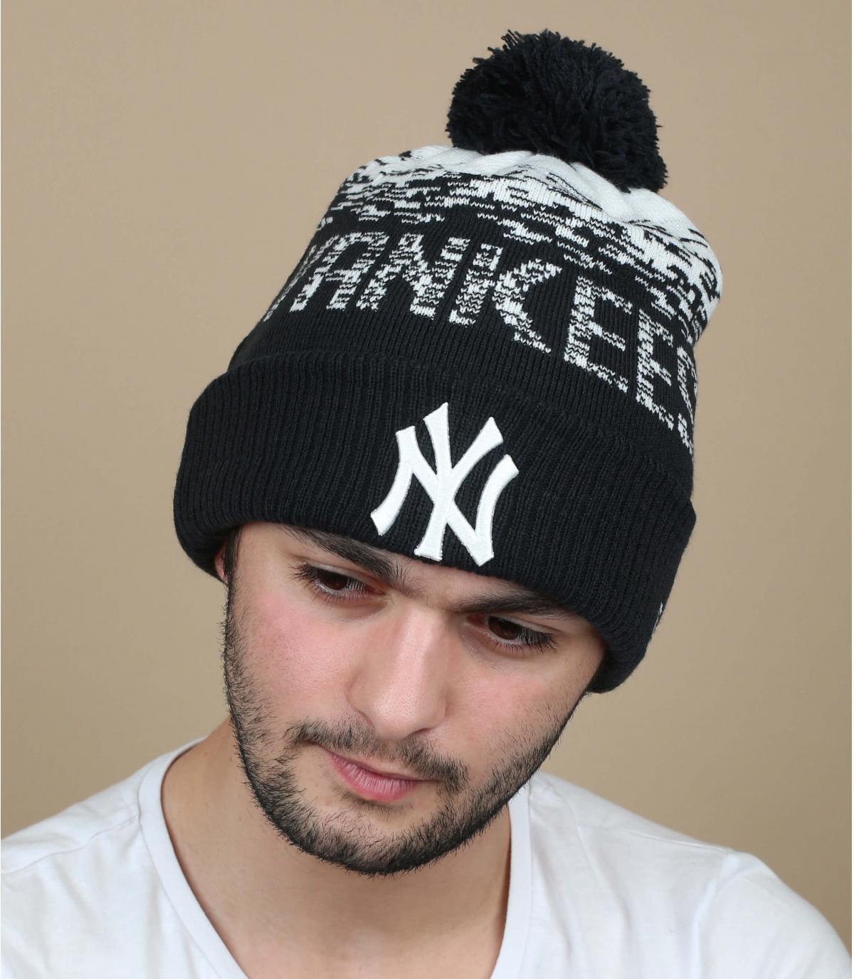 bonnet pompon bleu Yankees