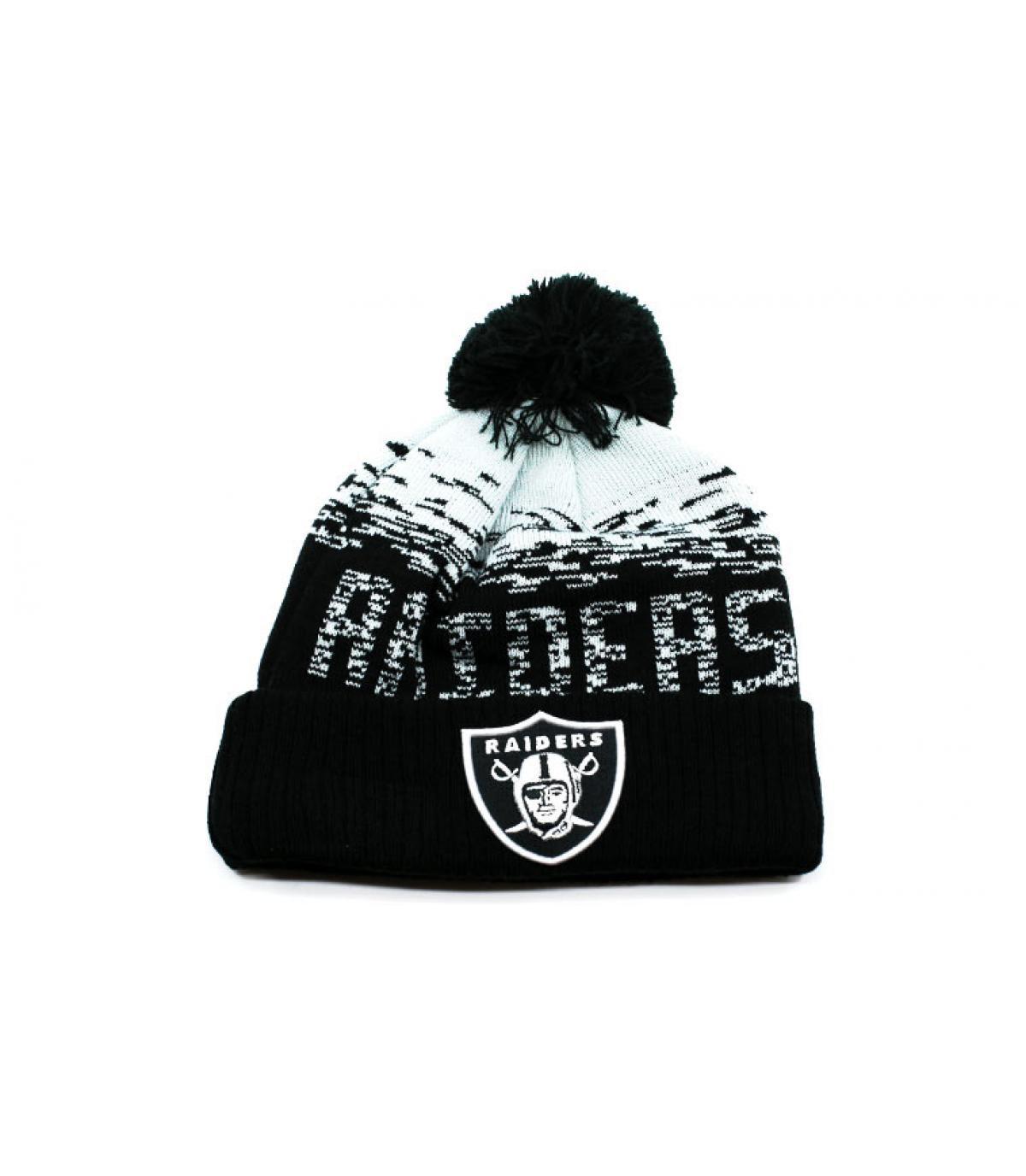 bonnet Raiders noir pompon