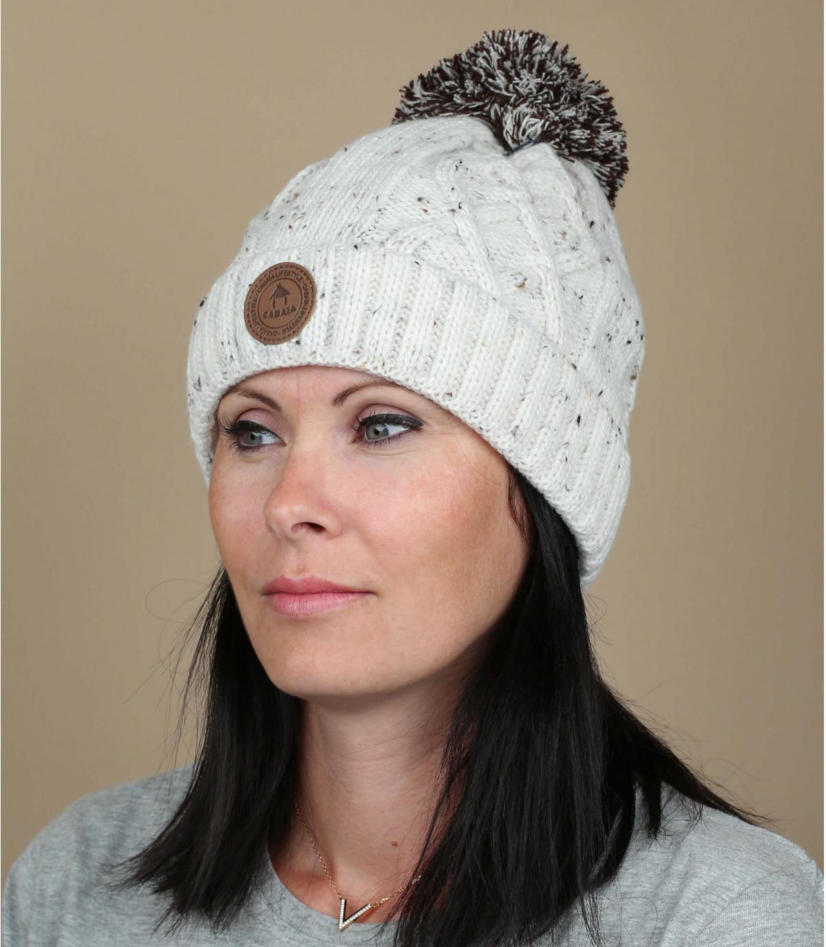 bonnet pompon blanc revers