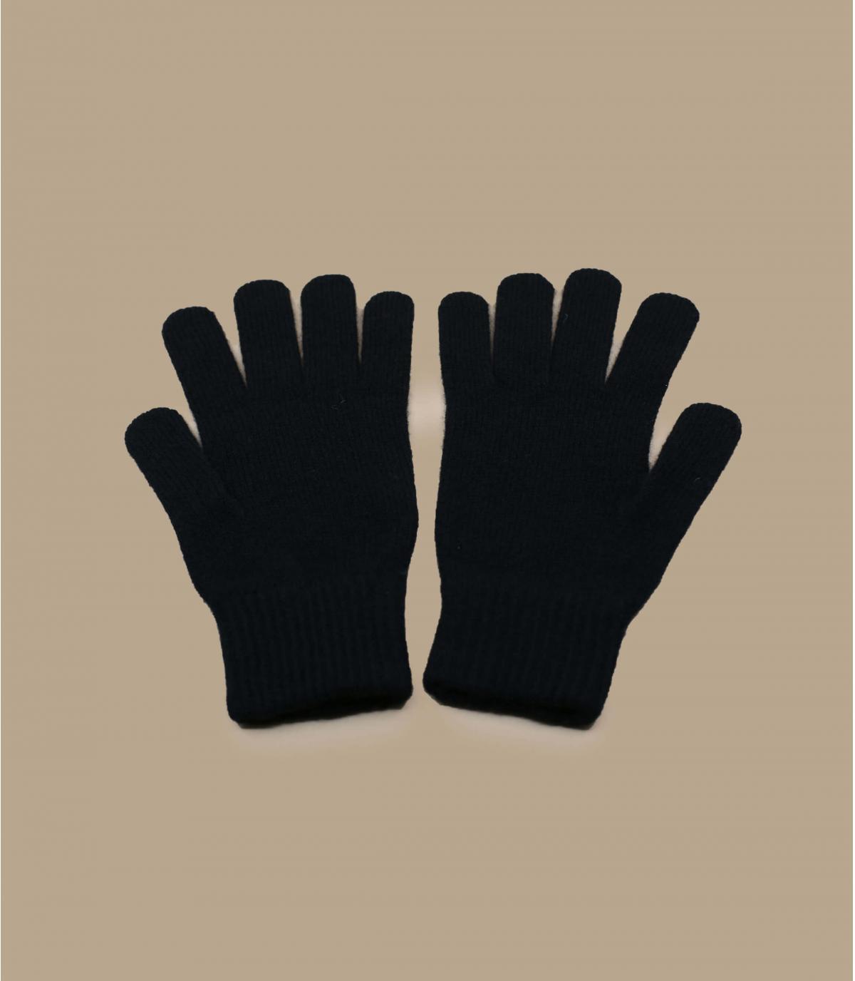 gants noir laine