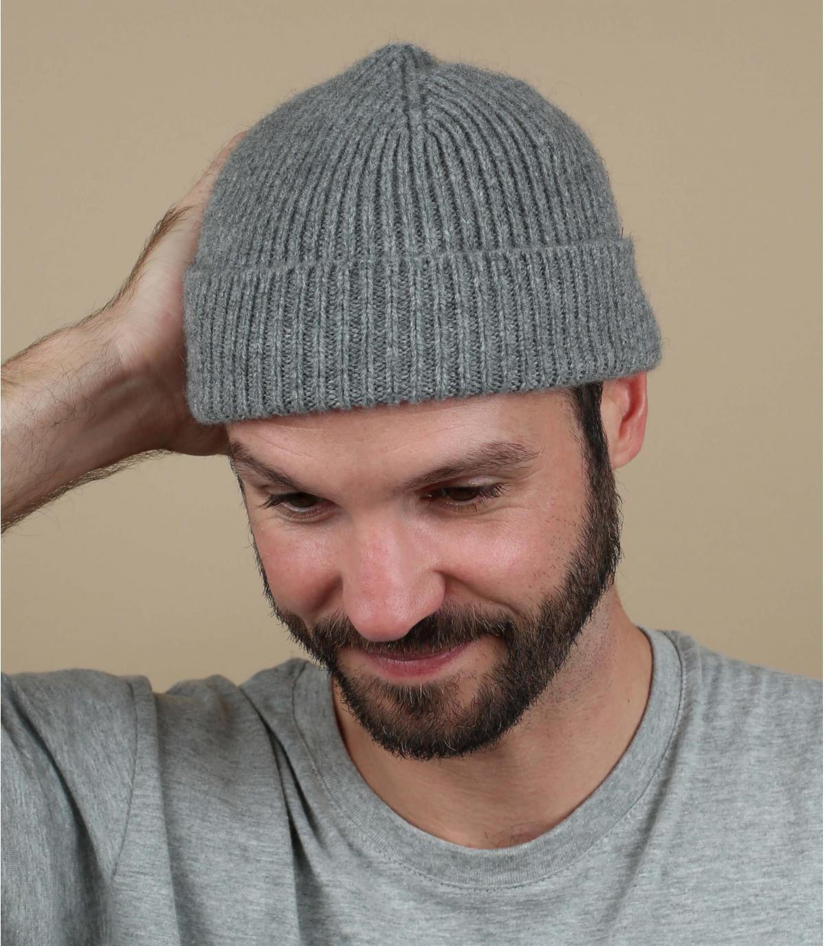 bonnet gris laine agneau