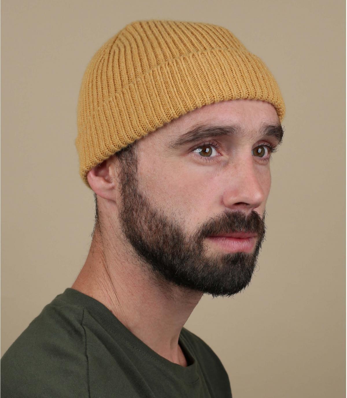 bonnet revers jaune laine