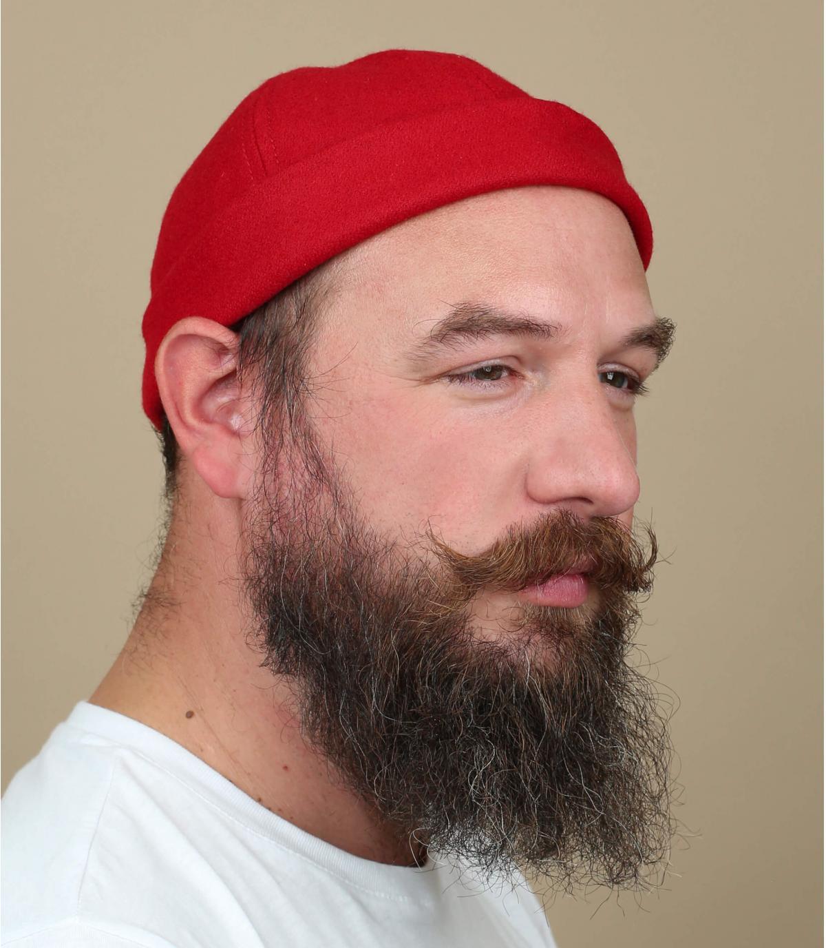 bonnet docker rouge laine