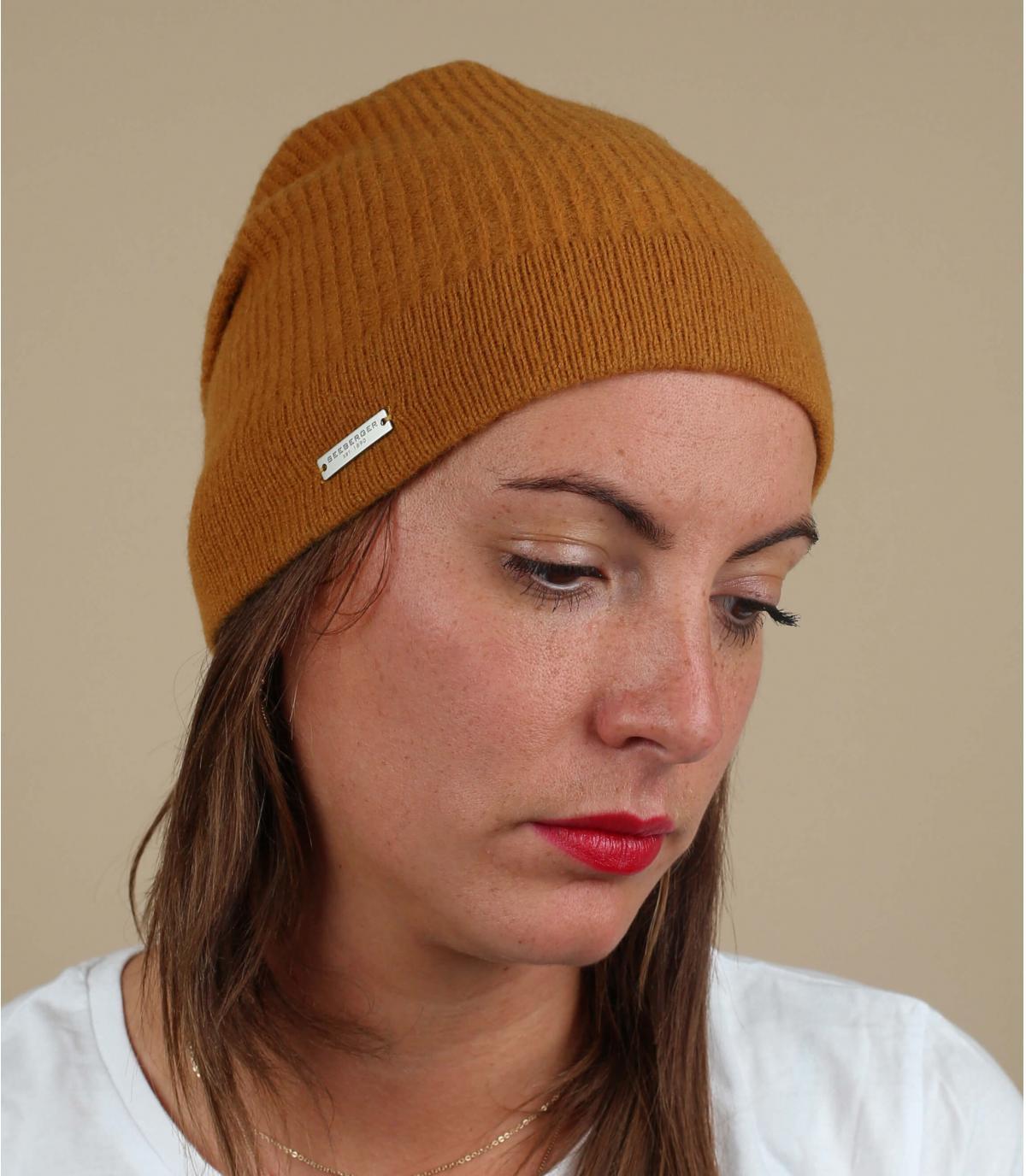 bonnet long jaune laine