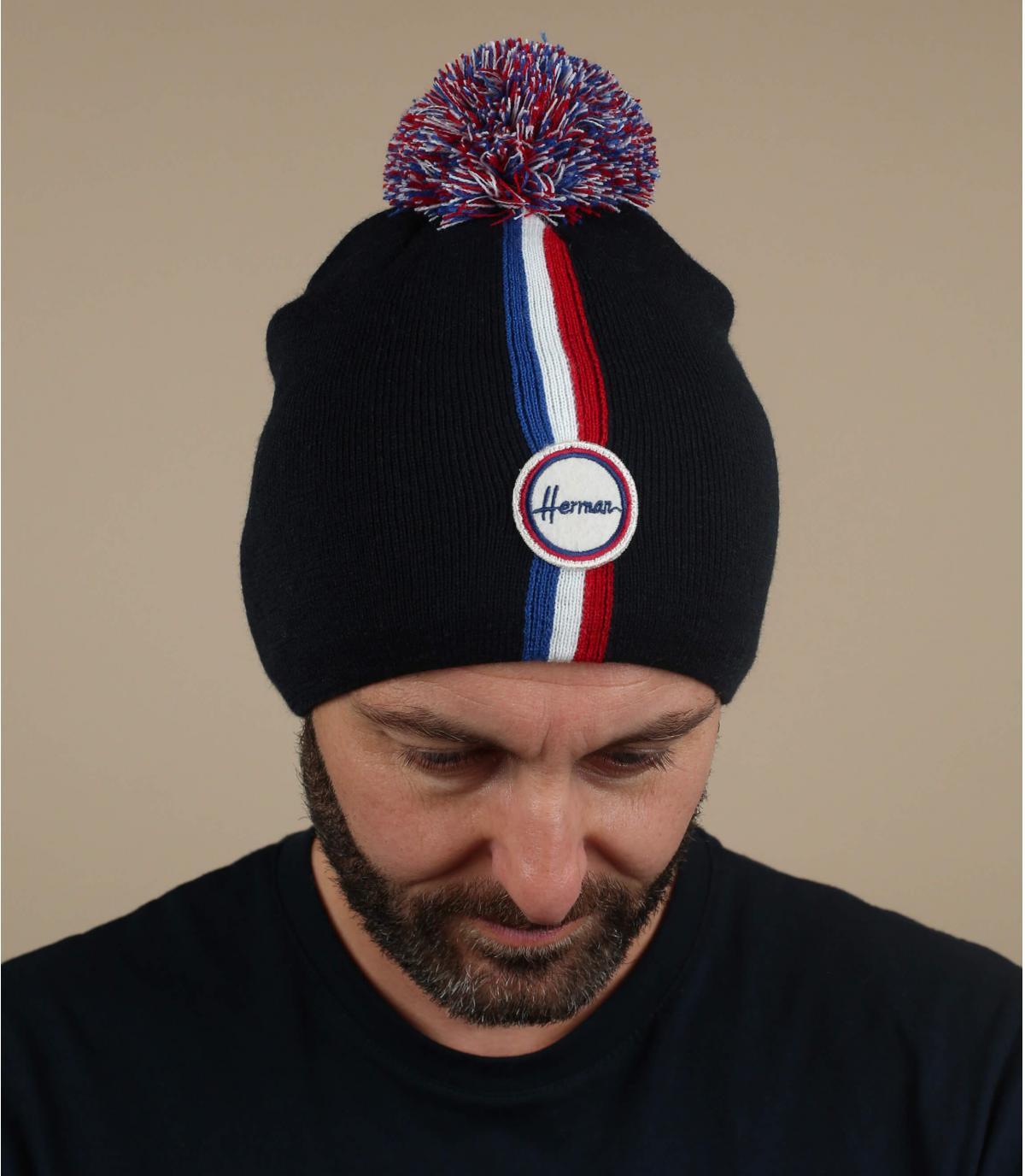 bonnet pompon bleu