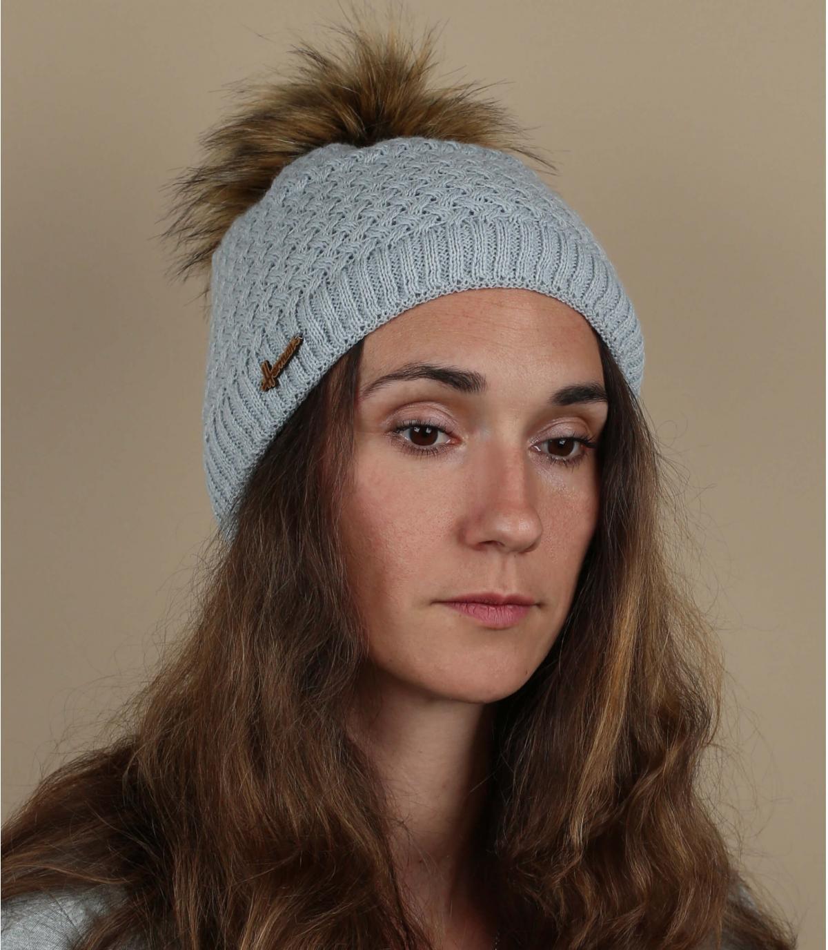 bonnet gris pompon fourrure