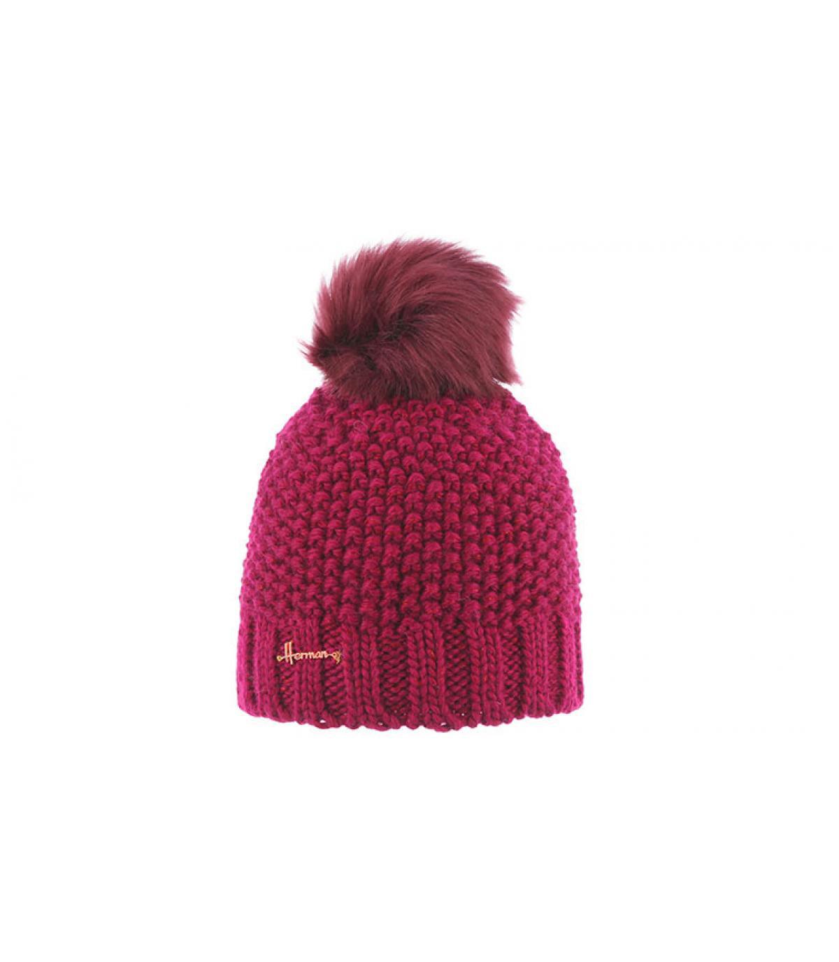 bonnet pompon rose femme