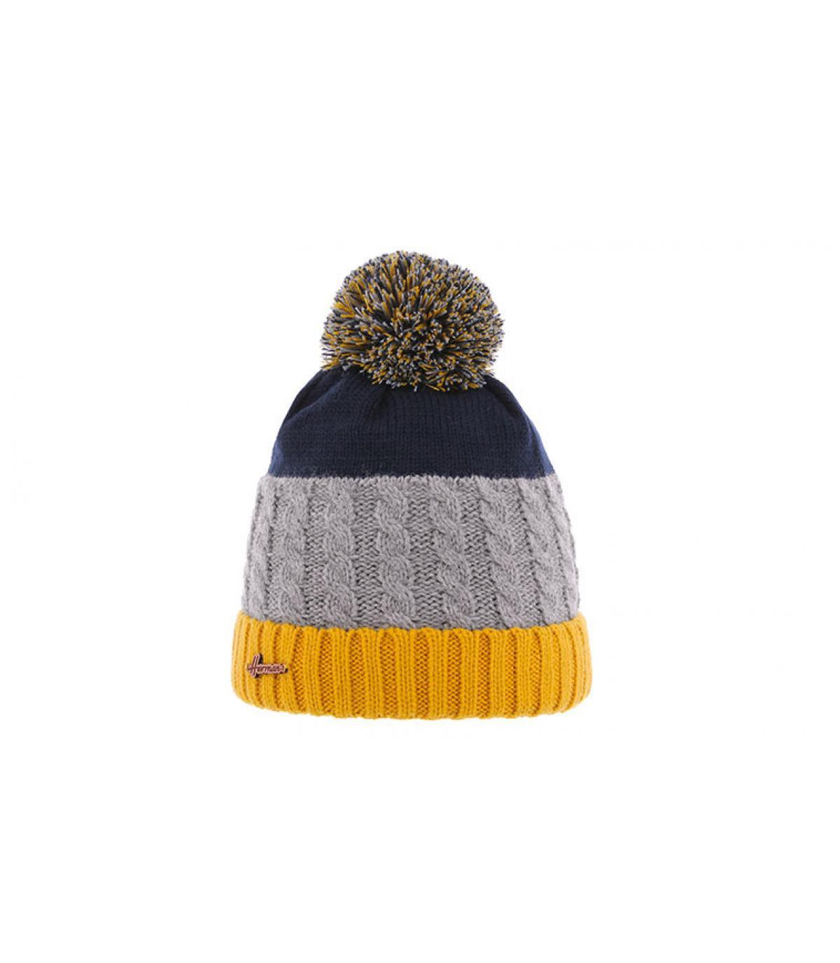 bonnet pompon bleu jaune gris