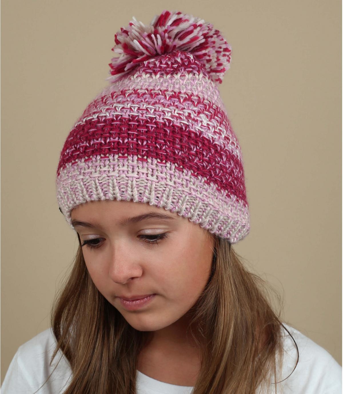 bonnet pompon rose laine